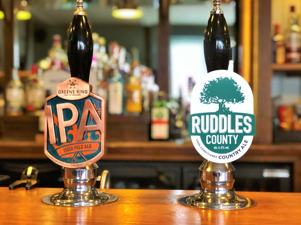beer Greene King IPA and Ruddles County Country Ale taps beer fonts western arms silver end witham essex