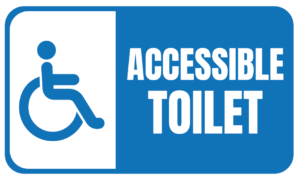 Accessible toilet and baby change facilities here